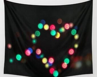 Heart Lights Wall Tapestry, Heart Wall Art, Bokeh, Dark Tapestry, Urban, Modern, Visionary, Night, Dorm, Love Tapestry, Romantic, Valentine