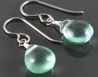 Green Fluorite Earrings. Titanium Ear Wires. Sterling Silver. Genuine Gemstone. Wire Wrapped. Lightweight Earrings. f16e242