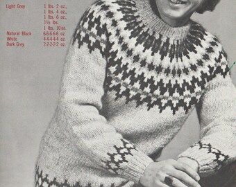 "Icelandic ""Viking Wool"" Knitted Sweater Pattern -  PDF - Retro 60's with a Bohus / Fair isle  type design, Scandanavian style."