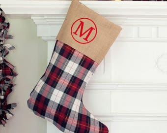 Monogram Stocking Plaid, Plaid Stocking,Initial Christmas Stocking, Personalized Christmas Stockings, Embroidered Christmas Stockings
