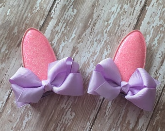 Pink Glitter Bunny Ears Lavender Bows Easter Hair Clips Babies, Toddlers, Girls