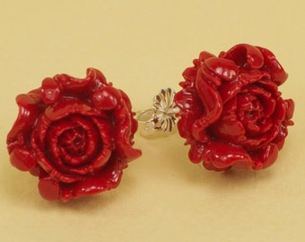 Vintage Red Mum Flower Post Earrings