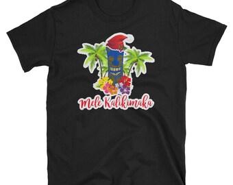 Tiki Mele Kalikimaka Christmas T-Shirt Hawaii Ukulele Back