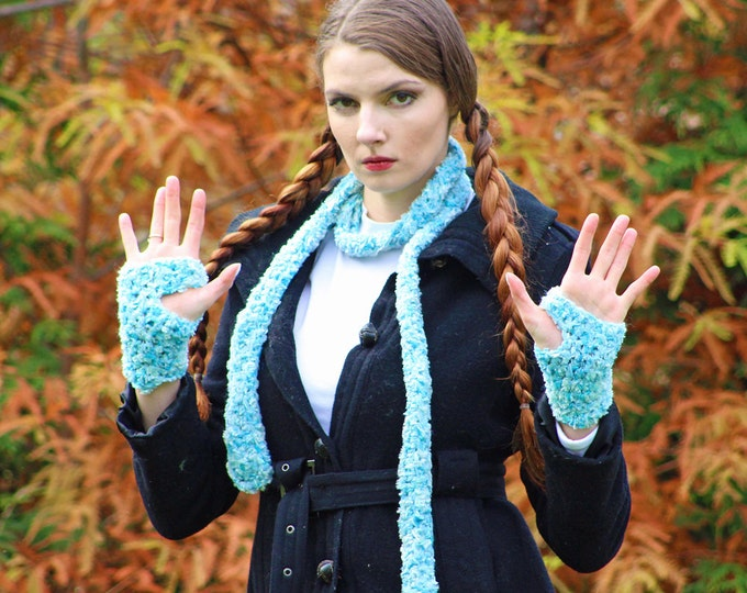 Light Blue Scarf and Fingerless Texting Gloves Set Long Soft Accesory  Gift for Girls, Teens or Women