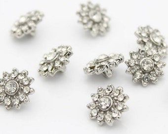 4 White Rhinestone Buttons Diamond Square Diamante Crystal Flower ,11-19mm(0.43-0.75inch),T24