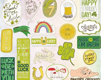 St Patrick's Word Art, Printable Scrapbooking Titles, Irish Blessing, Lucky Penny, Goodluck Make a wish