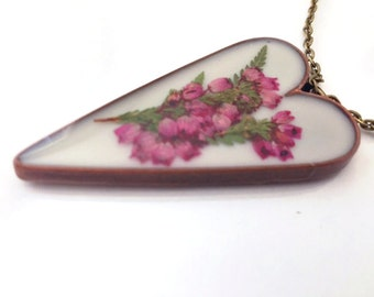 Heather Necklace, Copper Heart Pendant, Pink Flower Necklace, Real Flower Necklace, Scottish Heather - Gift For Her - Scotland FT36