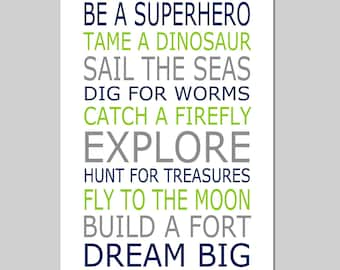 Be a Superhero Playroom Rules Baby Boy Nursery Art Quote - 11x17 Print - CHOOSE YOUR COLORS