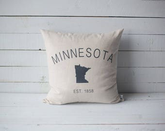 MINNESOTA state pillow 18x18 screen printed throw pillow cover home decor