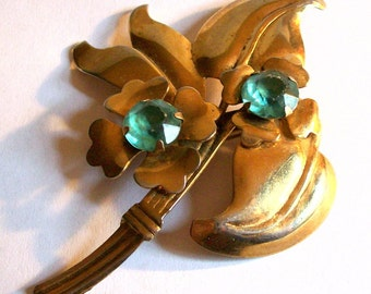 Vintage 1940s Brass Gold Tone Large Floral Leaf Rhinestone Brooch Pin Collectible Jewelry
