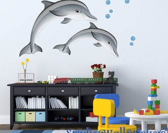 Dolphin Wall Decal LARGE Reusable Dolphins Decals