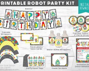 Robot Party Kit - Robot Birthday Party - Robot Party Decor - Robot Printable - Third Birthday Decor - Fourth Birthday Theme