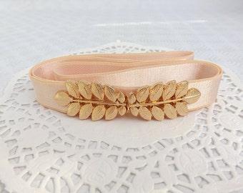 Light peach elastic waist belt. Gold leaf buckle. Grecian Style Bridal Belt. Wedding belt.
