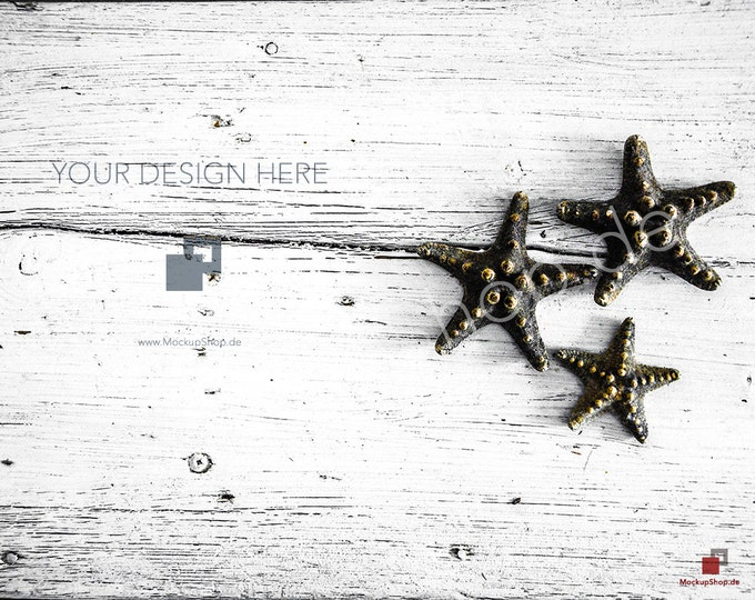 STOCK PHOTO SCANDINAVIAN // white wooden background // mockup wooden background nordic / Instand Download / Mockup Scandinavian Starfish