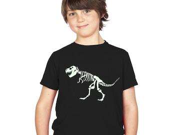 Kids T-Rex Dinosaur Skeleton Glow In The Dark T-Shirt Black Boys / Girls Childrens Tyrannosaurus Rex