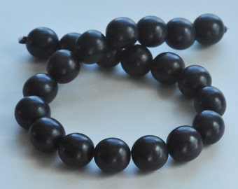 Black Beads, Round Wood Beads, 20 mm, Large Beads, Chunky Beads, Lightweight Beads, Fast Shipping from USA