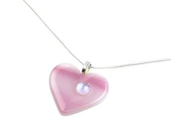 Pendant Necklace, Pink Heart, Genuine Art Glass