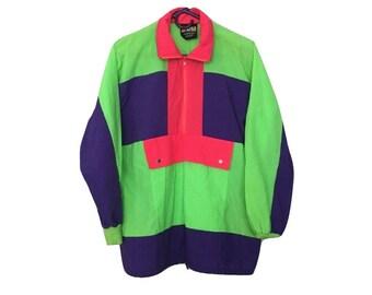 Vintage Fluorescent Colour Windbreaker - Neon Color Windbreaker - Vintage Bright Color Jacket - 90s Neon Jacket - Neon Windbreaker - IOU