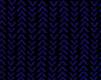 FABRIC REMNANT - 1 1/2 Yards of Triangle Stripes in Black & Electric Blue - Rayon Challis Fabric