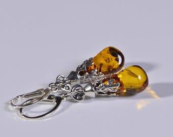 Baltic Amber Earrings Baltic Amber Jewelry Teardrop Earrings Gemstone Jewelry