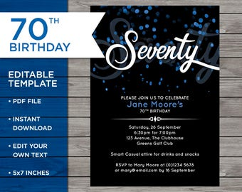 70th birthday invite email invitation email invite 70th birthday invite customisable birthday invitation 70 years old blue bokeh invite filmwisefo Choice Image