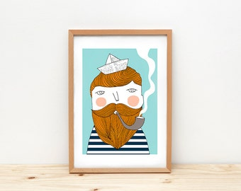 Sailor art print, illustration by depeapa, bearded man, sailor wall art, A4, sailor poster, modern nursery art, wall decor, kids room decor