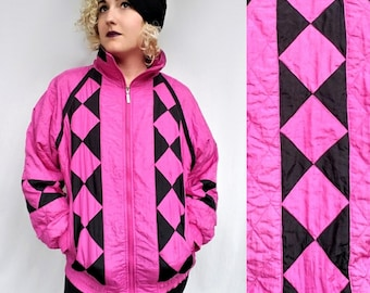 Vintage Hot Pink and Black Wind Breaker - Jacket, Coat, contrast diamond pattern floral dots