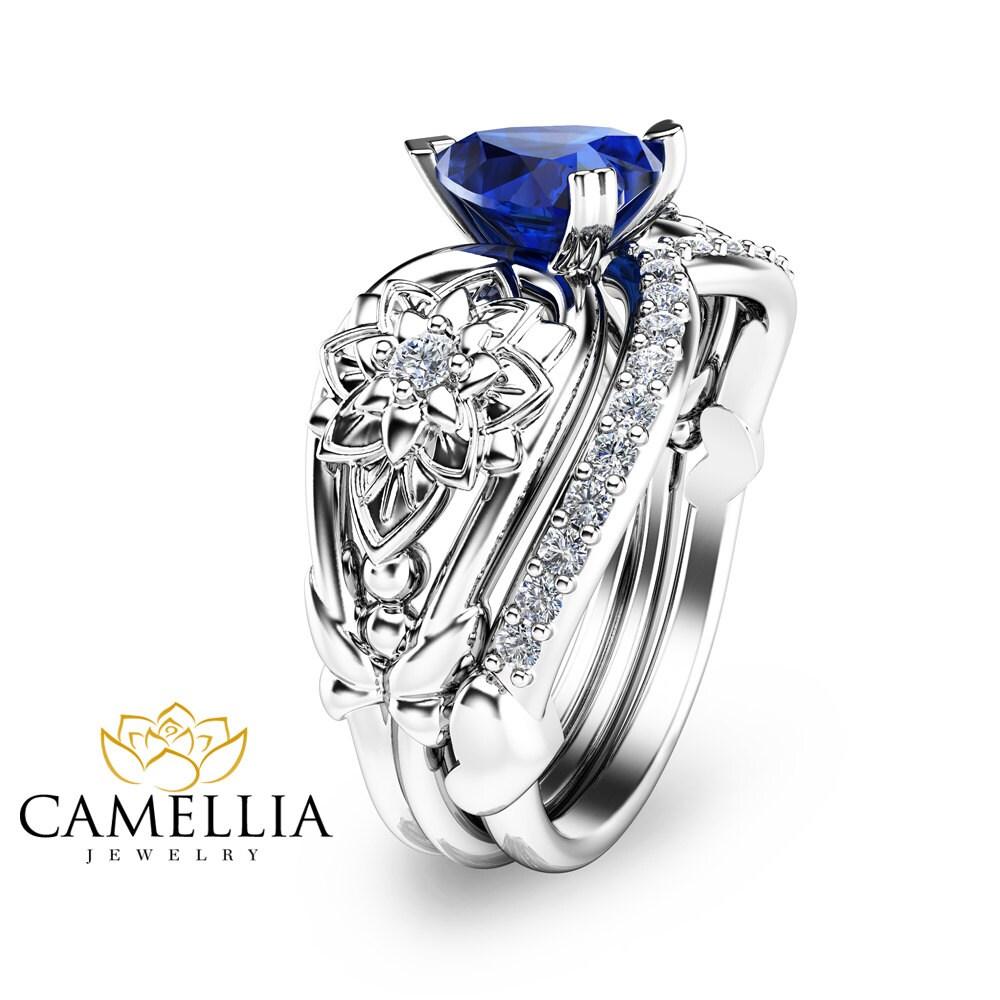 Blue Sapphire Engagement Ring Set Heart Shaped Sapphire