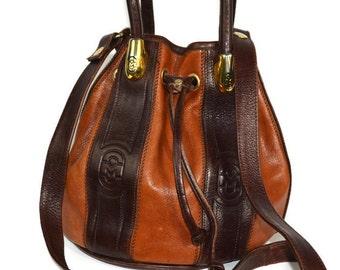 Marino Orlandi, Brown, Leather Embossed, Bucket Handbag,  Drawstring Bag, Bucket Bag, Brown Leather Bag, Leather Cinch Purse, Luxury Handbag