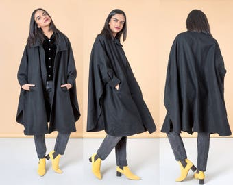 BLACK WOOL CAPE classic vintage fall winter Pockets 90S women jacket coat oversize / Free Size
