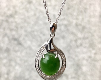 Sterling Silver Jade Pendant with CZ - Jade Necklace - Green Jade - Nephrite Jade