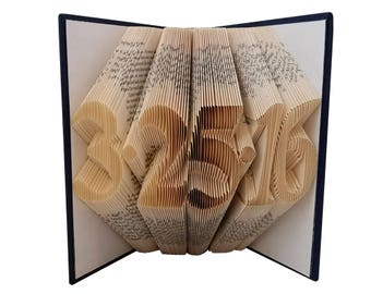 First Anniversary Gift for Him / Her - Paper Anniversary Gift - Anniversary Date Folded Book - Wedding Date Gift - Book Folding