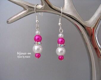 Jewelry fancy wedding earrings Fuchsia, ivory pearls and rhinestones