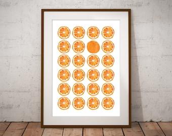 Orange Fruit Print, Orange Fruit Poster, Minimalist Orange Fruit Wall Art, Orange Slice Art Print, Modern Abstract Watercolour Art Print