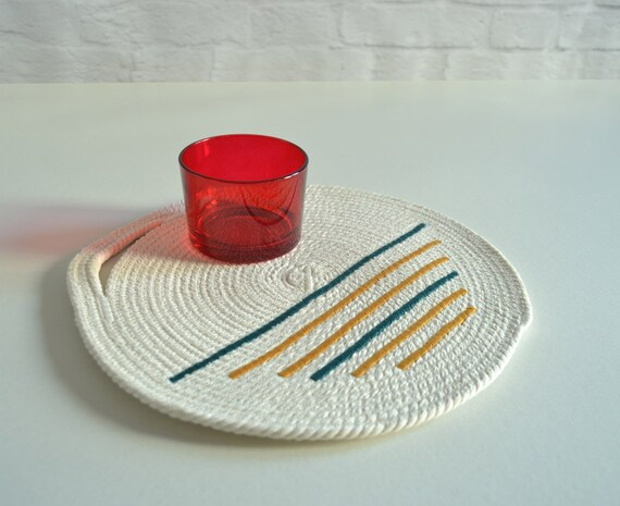 Rope trivet, Table top coaster Modern kitchen, Hot plate Cotton rope coaster, Breakfast coaster, Round coaster, Minimal decor Modern trivet