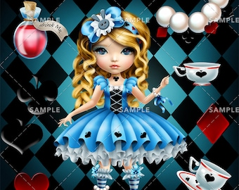 Alice In Wonderland Clipart | Commercial Use| Illustrations| Instant Download