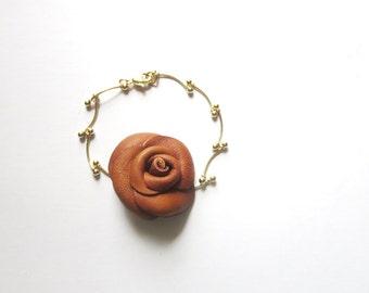 Red  Rose bracelet -   brown rose bracelet - leather Flower  bracelet - leather  Bracelet