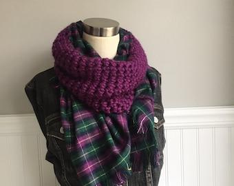 Purple Blanket Scarf / Flannel Scarf / Purple and Green Scarf / Crochet Scarf / Infinity Scarf