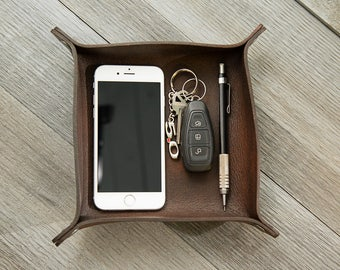 Leather Valet Tray | Leather Catchall | Leather Caddy | Leather Coin Tray | Full Grain Leather | Accessory | Free Personalization | Gifts