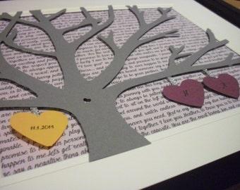 1st Anniversary Gift, Wedding Vows Unframed, Personalized 11X14 Framed 3D Paper Tree Wedding Gift, Anniversary, Wedding Song Lyrics