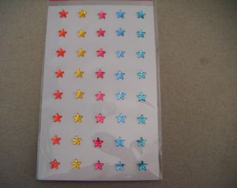 x 40 rhinestones in several colors 7 mm star-shaped stickers