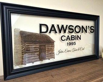 Family Sign Gift for Family Parent Gifts Parent Gifts for Wedding Last Name Sign Custom Name Sign Log Cabin Log Cabin Decor A105