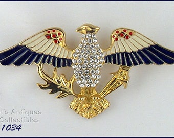 Eisenberg Ice Eagle Pin,Eisenberg Ice Patriotic Eagle Pin,Eisenberg Ice Red White and Blue Eagle Patriotic Pin (Inventory #J1034)