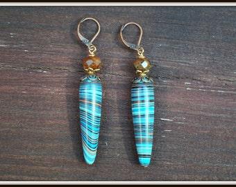 Rainbow Calsilica Earrings, Calsilica Teardrop Earrings, Reconstituted Calsilica Earrings, Rainbow Drops, Blue and Copper Earrings