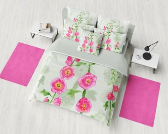 Hollyhock Floral Duvet Cover or Comforter,  pink and green flowers, spring bedding