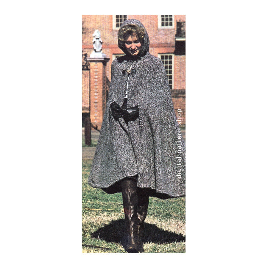 Womens hooded cape knitting pattern 1970s vintage long knit zoom bankloansurffo Image collections