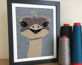 Ostrich Knit Illustration 8x10 Textile Wall Art - Heathered Grey