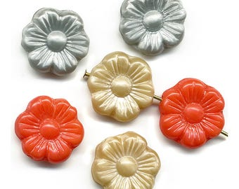 Vintage Flower Beads 14mm Red, Gray & Beige Mix Flat Opaque Glass Germany 6 Pcs.
