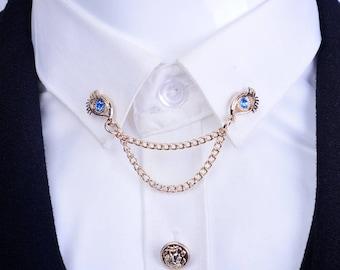 Dress Closure Collar Pins,Gold Rhinestone Eyes Alloy Sweater Pins Brooch,Fall back to school fashion