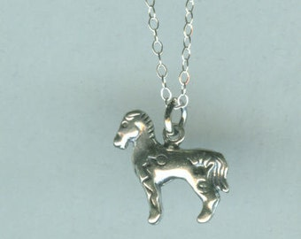 Sterling PAINTED PONY Charm - Horse - 3D - Whoa Team, Native American